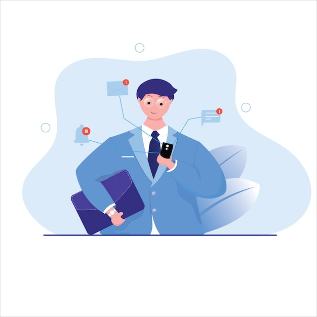 Businessman check smartphone and get notification concept Premium Vector