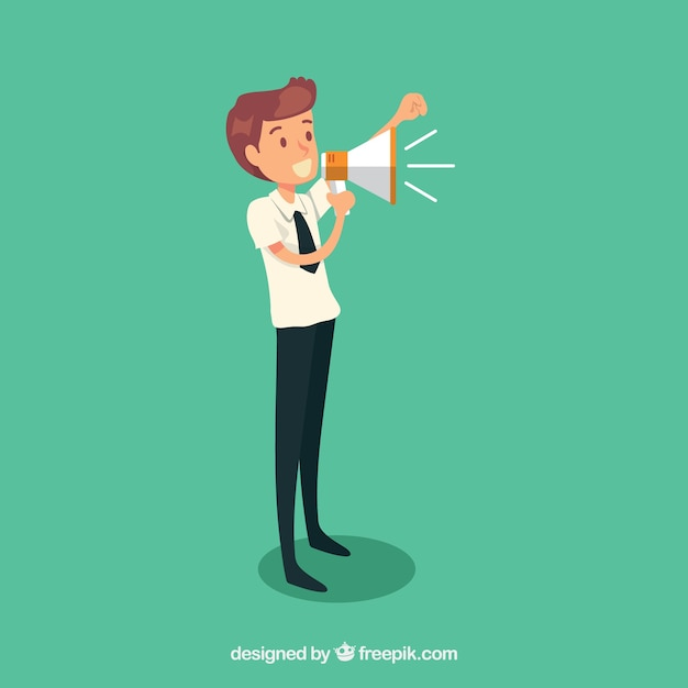 Businessman cheering with a megaphone Free Vector