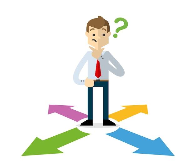 Businessman choosing a right direction Premium Vector