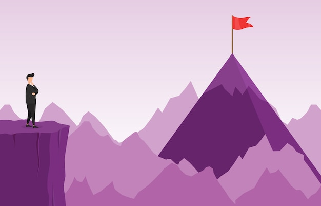 Businessman on cliff thinking how to reach target with obstacle business concept Premium Vector