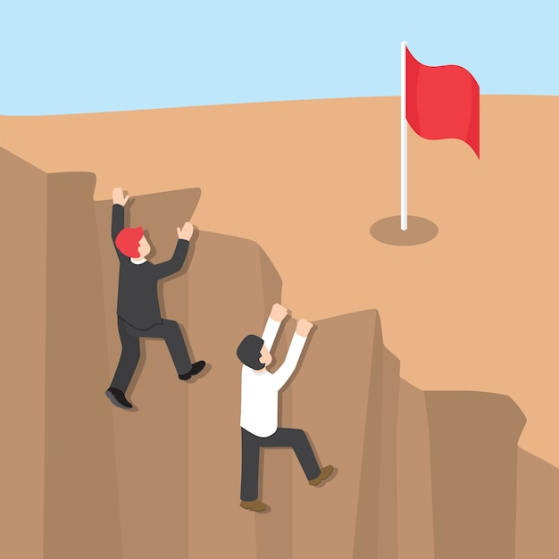 Businessman climb up the cliff to reaching his success Premium Vector