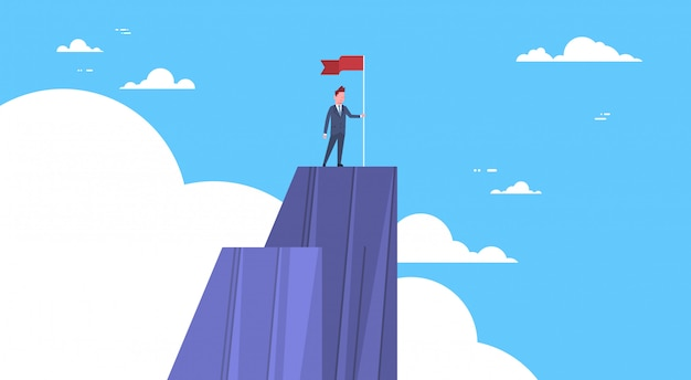 Businessman climbed mountain, leader businessman on top concept of win and success Premium Vector