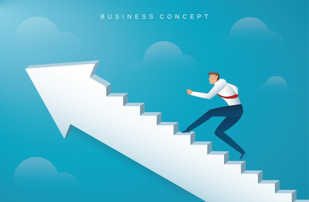 Businessman climbing the arrow stairs to success Premium Vector