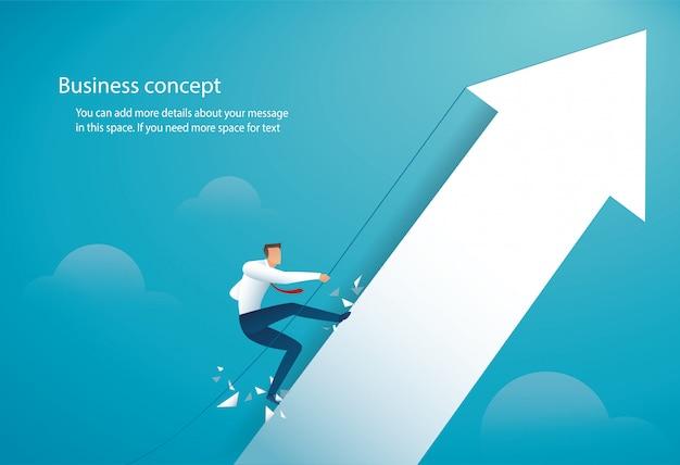 Businessman climbing on the big arrow Premium Vector