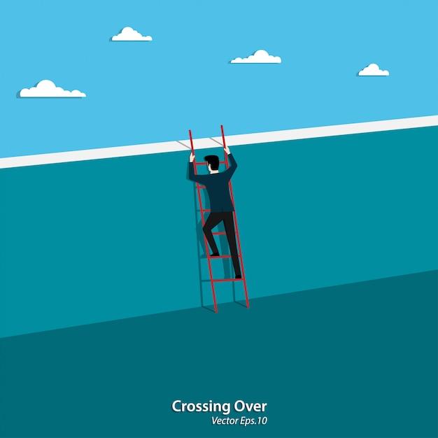 壁を渡る実業家登山はしご Premiumベクター