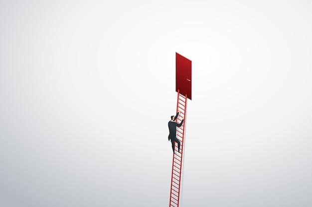 成功を目標に壁の赤いドアまではしごを登るビジネスマン。 Premiumベクター