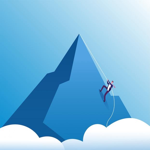 ビジネスマン登山。挑戦、忍耐力、個人の成長、キャリアの努力。 Premiumベクター