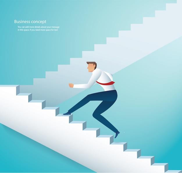 Businessman climbing stairs to success Premium Vector