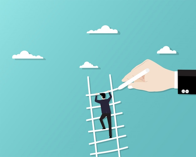 Businessman climbing up staircase Premium Vector