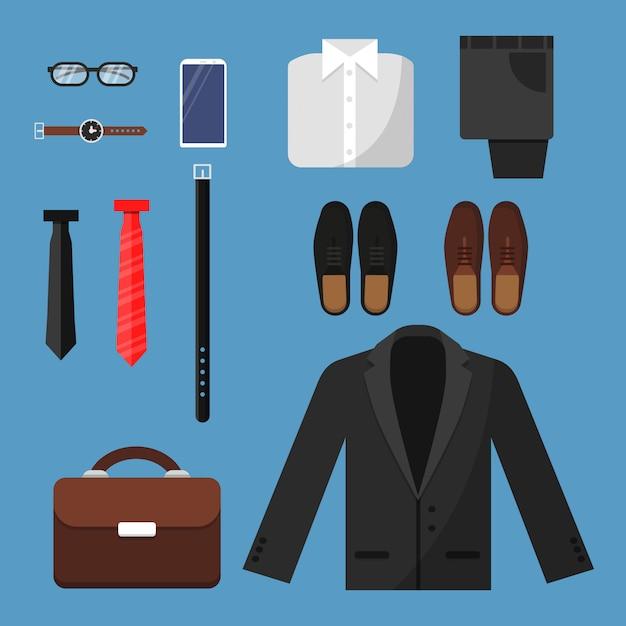 ビジネスマンの服。ファッションメンズアイテムパンツシャツシューズ時計時計ネクタイバッグベクトルトップビューフラットイラスト Premiumベクター