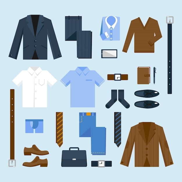 Businessman clothes icons set Free Vector