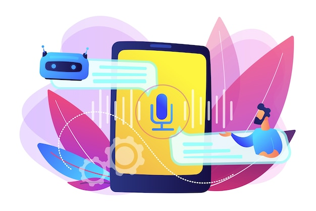 Businessman communicates with chatbot with voice commands. voice controlled chatbot, talking virtual assistant, smartphone voice application concept. bright vibrant violet  isolated illustration Free Vector