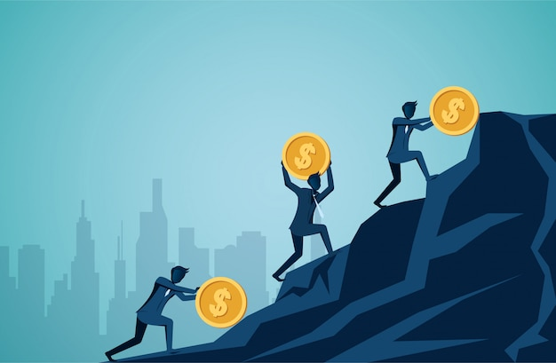 Businessman competing rolling and push icon dollar coin uphill on the mountain to the goal of success Premium Vector