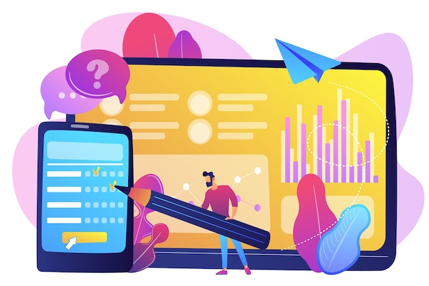 スマートフォンの画面でオンライン調査フォームに記入するビジネスマン。オンライン調査、インターネットアンケートフォーム、マーケティングリサーチツールのコンセプト。 無料ベクター