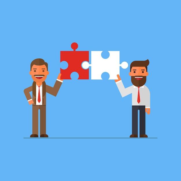ビジネスマンの接続パートナー Premiumベクター