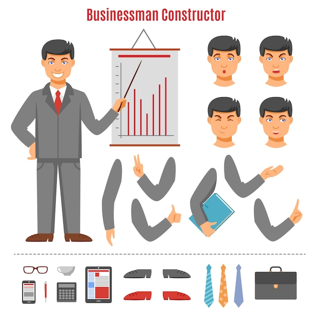 Businessman constructor set Free Vector