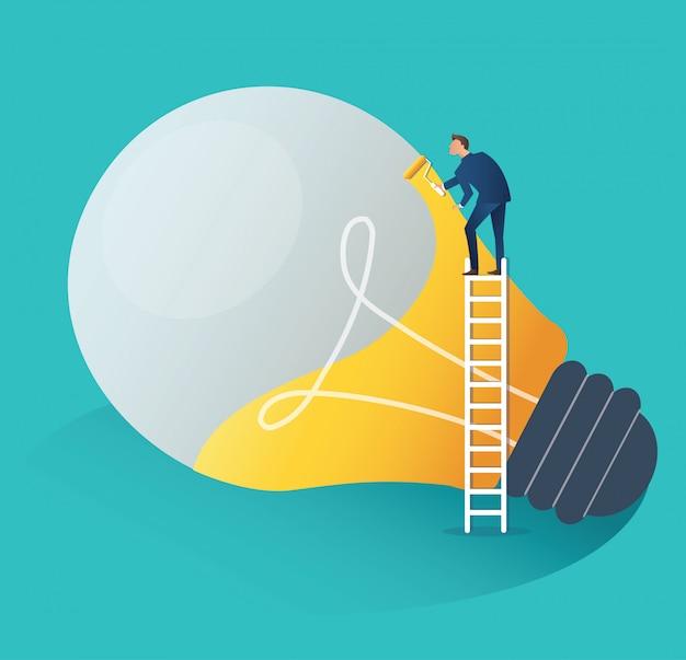 Businessman cooperation creative  idea concept Premium Vector