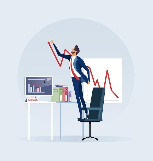Businessman creating growing stock chart Premium Vector