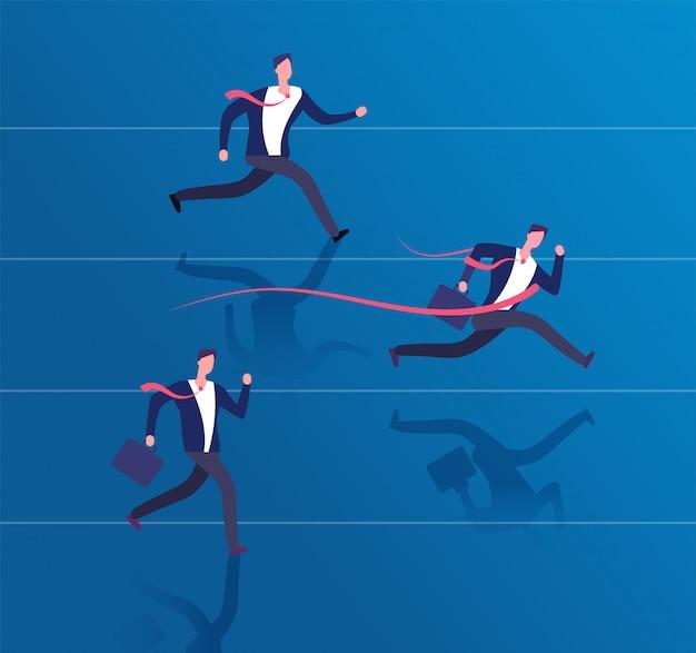 Businessman crossing finish line. success achievement, leadership and winning business  concept Premium Vector