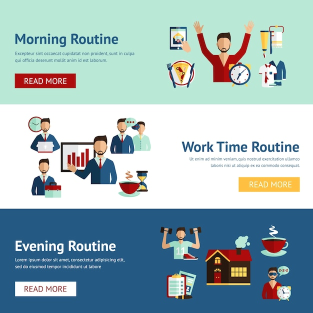 Businessman daily routine concept banners Free Vector