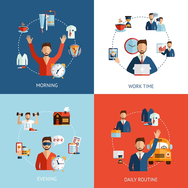 Businessman daily routine concept flat icons Free Vector