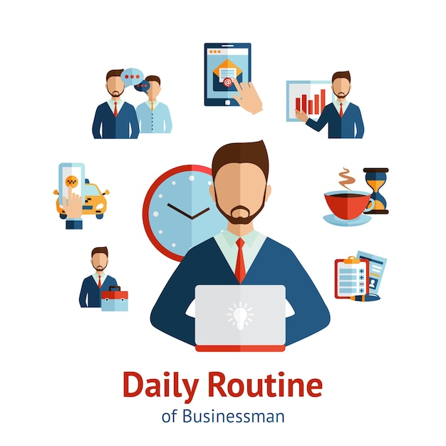 Businessman daily routine concept poster Free Vector