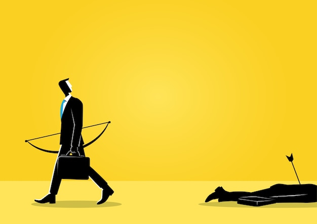 Businessman and a dead body Premium Vector