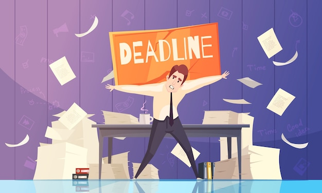 Businessman deadline problems cartoon Free Vector