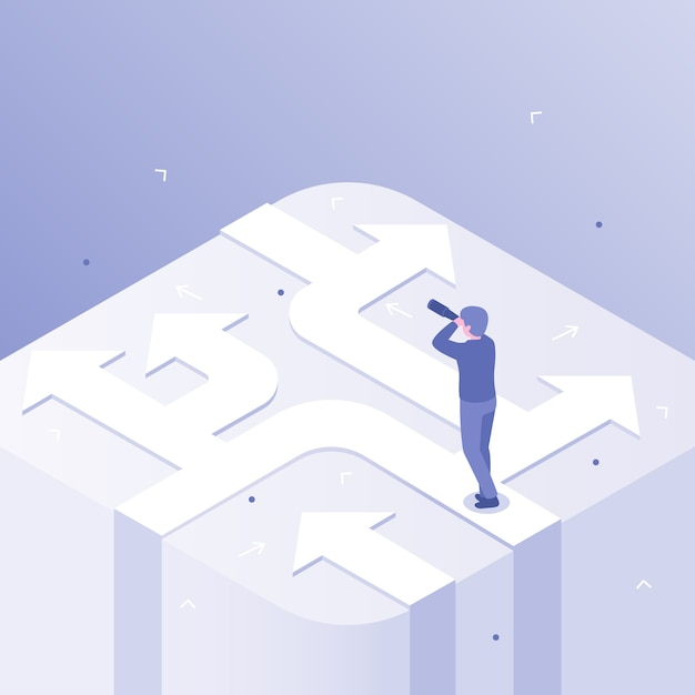 Businessman decision. business direction choice, success career decisions and choosing ways isometric concept illustration Premium Vector