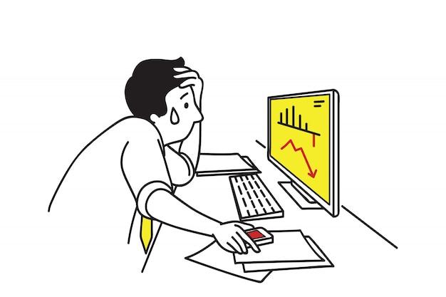 Бизнесмен в депрессии с графиком падает Premium векторы