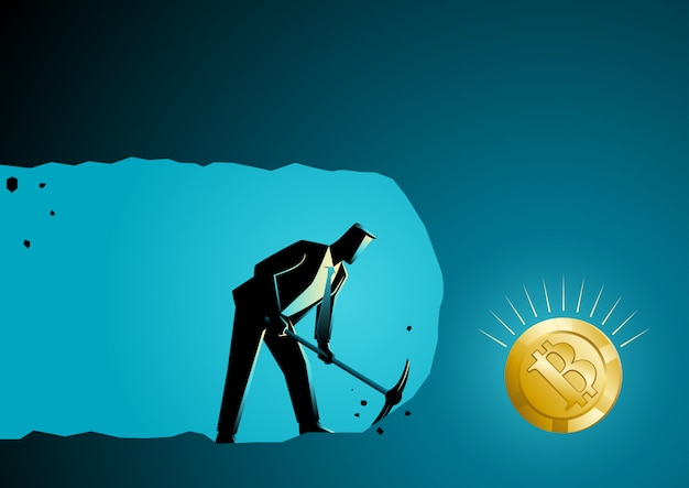 Businessman digging and mining to find bitcoin Premium Vector