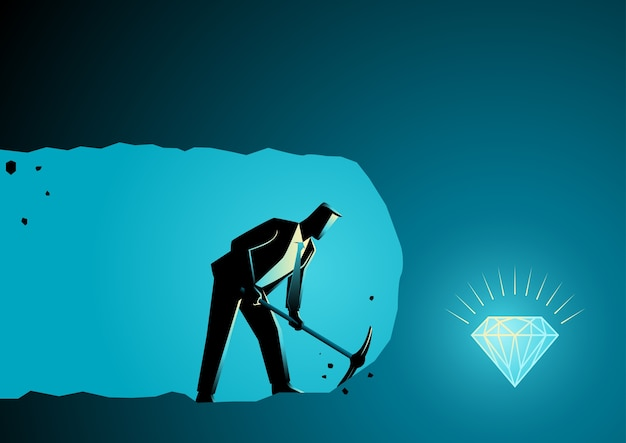 Businessman digging and mining to find treasure Premium Vector