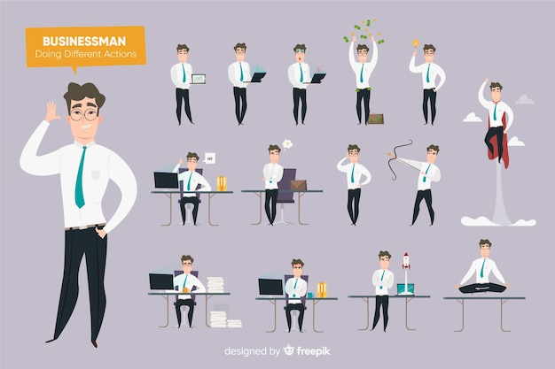 Businessman doing different actions Free Vector