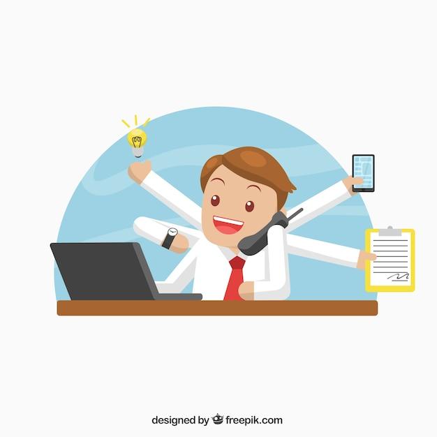 Businessman doing various tasks Free Vector
