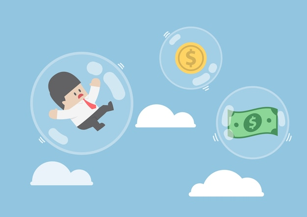 Businessman and dollar money floating in bubbles Premium Vector
