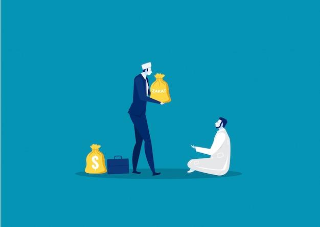 Businessman donation zakat to poor man concept Premium Vector