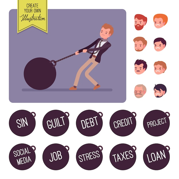Businessman dragging a giant heavy weight on chain Premium Vector