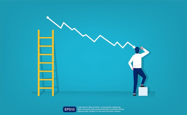 Businessman draw simple graph with descending curve and ladder symbol. Premium Vector