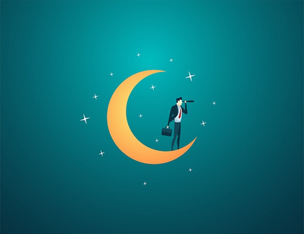 Businessman dream stand moon look use telescope Premium Vector