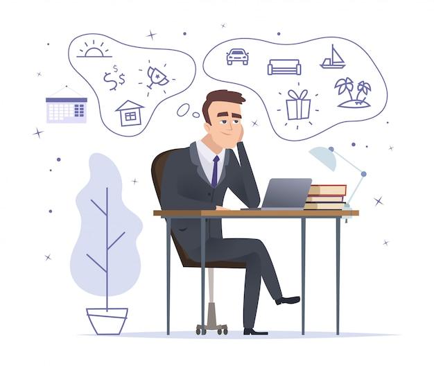 夢を見ている実業家。座っていると家の車とトロフィーを考えて成功したオフィスマネージャーベクトル漫画のキャラクター Premiumベクター