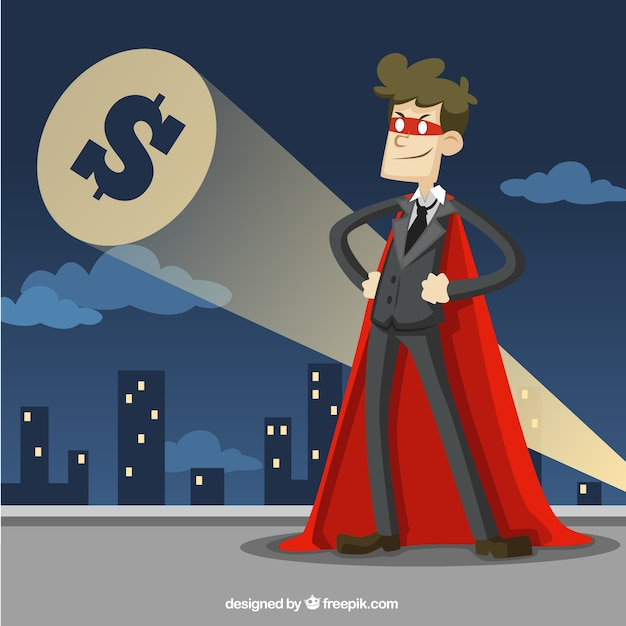 Businessman dressed as a superhero Free Vector