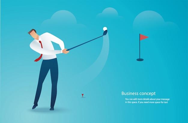 Businessman driving golf vector Premium Vector