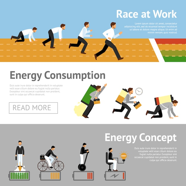 Businessman energy banner set Free Vector