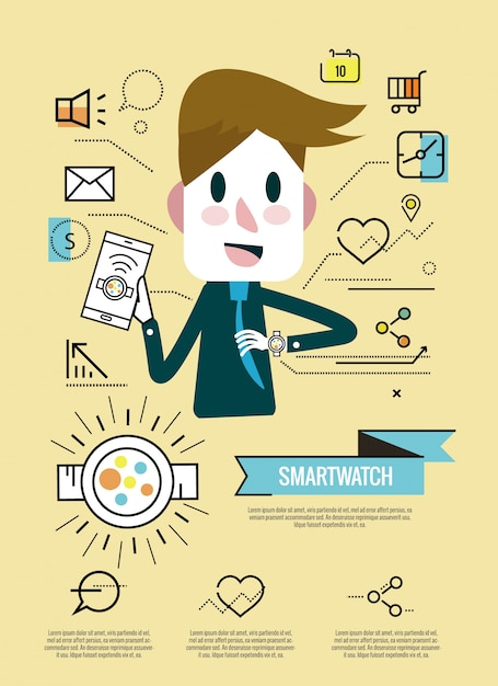 Businessman enjoy with his smartwatch Premium Vector