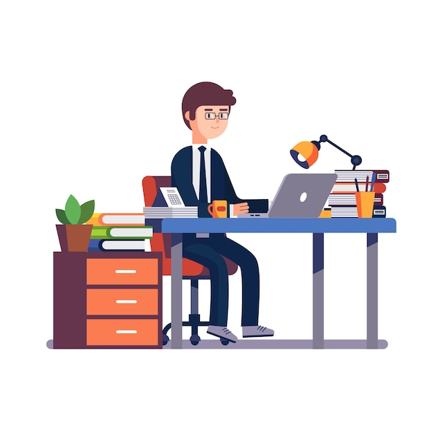 Businessman Entrepreneur Working At Office Desk. Free Vector