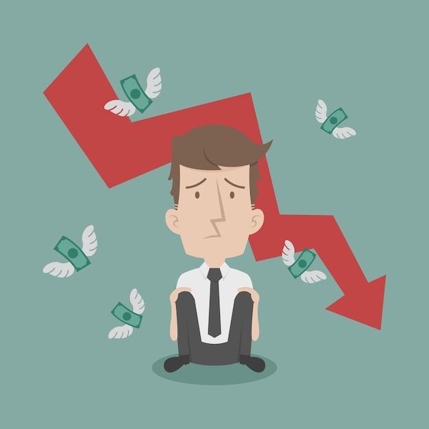 Businessman fail and money flying Premium Vector