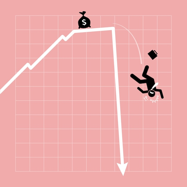 Бизнесмен падает с графика, график внезапно резко падает. произведение искусства изображает финансовый кризис, потерю инвестиций и экономический крах. Premium векторы