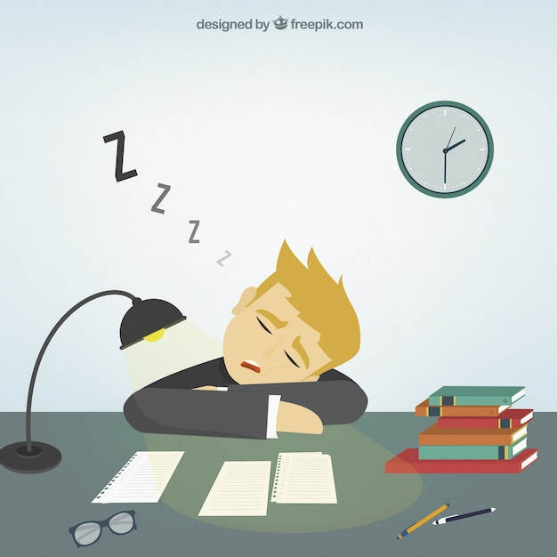 Businessman falling asleep Free Vector