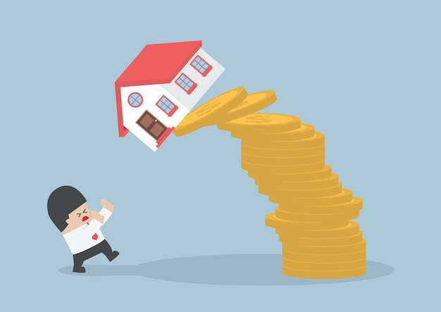 Businessman and falling house and coins Premium Vector