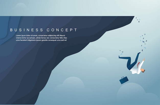 Businessman falls from the mountain background template Premium Vector